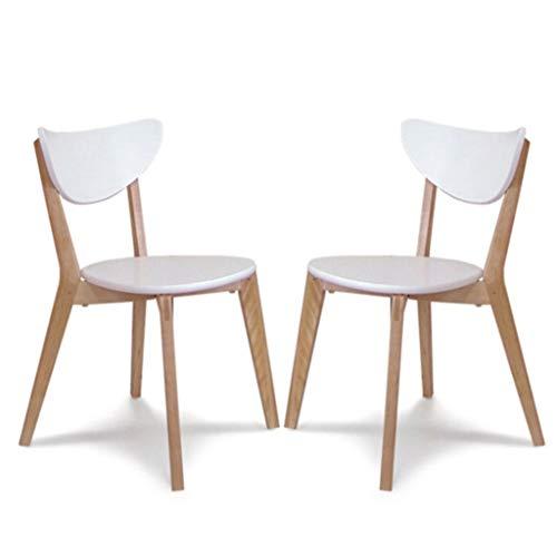 Lxn Design Simple Loisir Bois Massif Chaise à Manger Blanc, Accueil Armless Chaises, Salle à Manger, Cuisine, Chambre, Salon Côté Type Chaises économique - Lot de 2