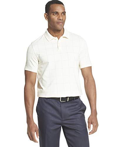 Van Heusen Herren Flex Stretch Windowpane Polo Shirt Poloshirt, Creme Tofu, 4X-Large Groß