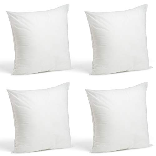Foamily Set of 4-18 x 18 Premium Hypoallergenic Stuffer Pillow Inserts Sham Square Form Polyester, 18' L X 18' W, Standard/White