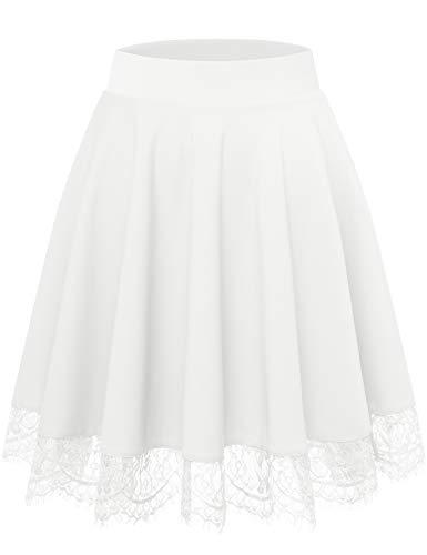 Bbonlinedress Rock Röcke Skirt Damen Mädchen Basic Solide Vielseitige Dehnbar Mini Rock Weiß A-Linie Rockabilly White M