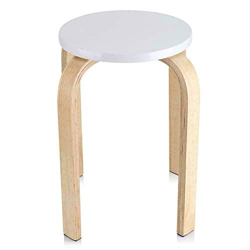Dioche Taburete redondo apilable, silla apilable de madera, taburete de baño y cocina, taburetes de bar para salón, estudio, dormitorio, de madera curvada, 40 x 30 x 45,5 cm (blanco)