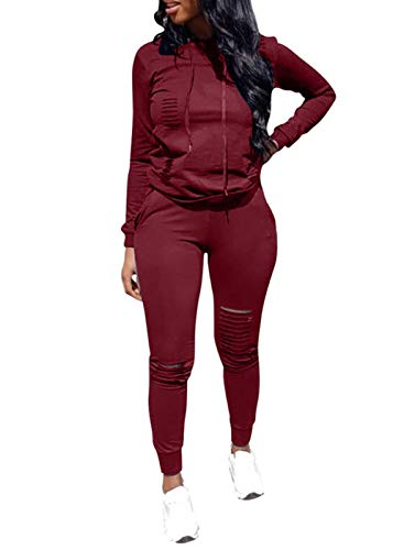 Women Casual Ripped Hole Pullover Hoodie Sweatpants 2 Piece Sport Jumpsuits Outfits Set (Wine Red, XXL)