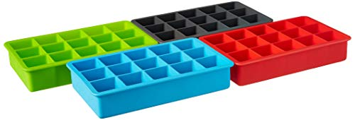 Tovolo Perfect Cube Ice Mold Trays, Sturdy Silicone, Fade Resistant, 1.25' Cubes, Assorted, Set of 4