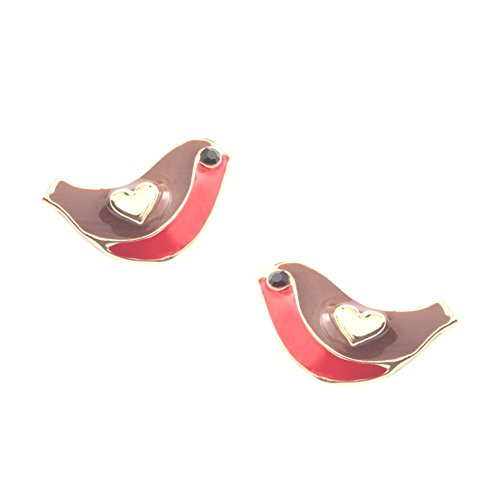 Chic Pair of enamel robin stud earrings with inset stone eyes - gift boxed
