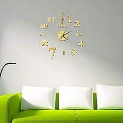 Foulon Frameless DIY Wall Clock, Mute Round Shape Quartz Wall Clock Sticker Home Decorative Clock Wall Clocks