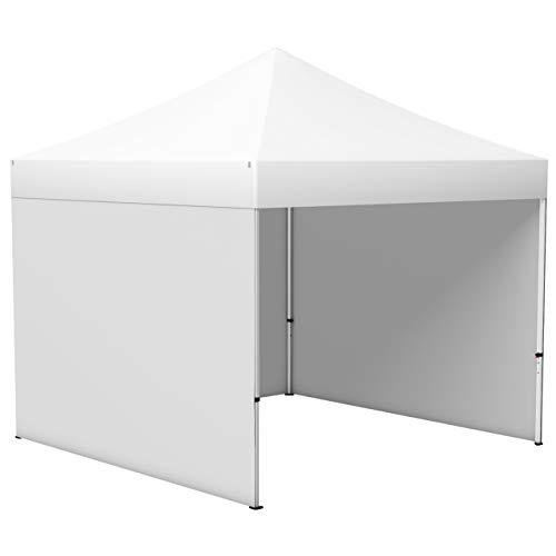 Vispronet® Faltpavillon Eco 3x3 m ✓ 3 Zeltwände, Vollwand ✓ Scherengittersystem ✓ inkl. Dach mit Volant (Weiß)