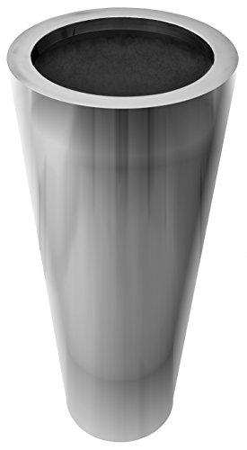 bella casa Blumenvase Vaso Tondo rund 20-30 x 70 cm Gross Silber Edelstahl konisch Bodenvase Dekovase Bogenvase deko Blumentopf Vase Gefäss