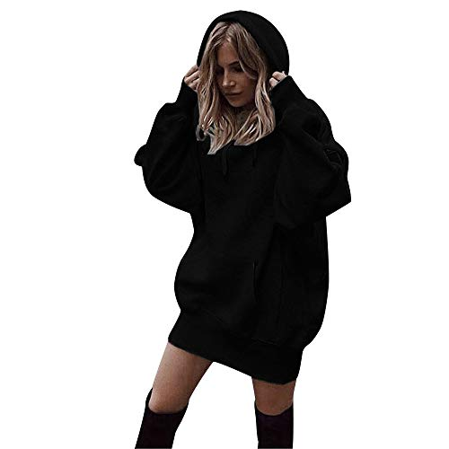 GOKOMO  Frauen Fashion Solid Color Kleidung Hoodies Pullover Mantel Hoody Sweatshirt(Schwarz,Medium)