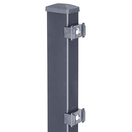 B2 Zaunpfosten anthrazit f. Doppelstabmatten 1230 (60x40x1800 mm)