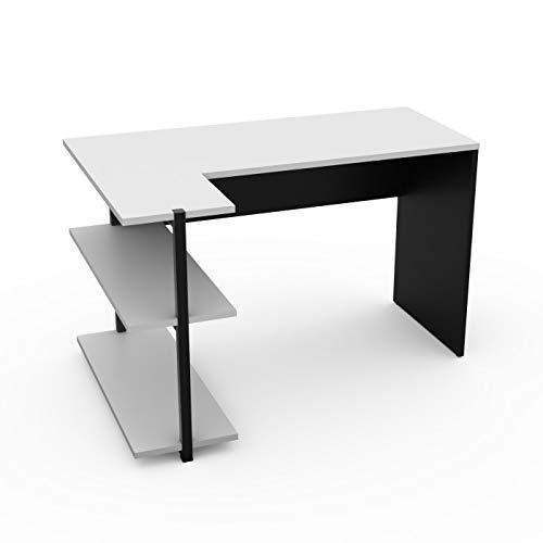 LEVIRA – Mesa con estanteria, Sieg - 120 x 80,8 x 74 - Negro y Blanco