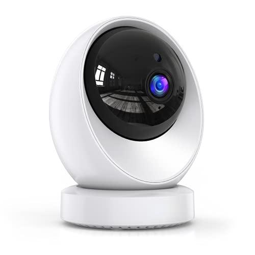 Vista Panorámica de 360° Cámara Vigilancia WiFi Interior, 1080P Cámara IP, Visión Nocturna, Detección de Movimiento, Conversación Bidireccional, Tarjeta SD Aplicable, Soporte para Android/ iOS