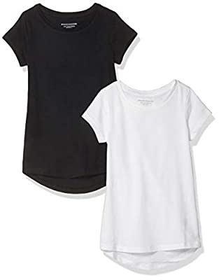 Amazon Essentials Little Girl's 2-Pack Tunic, Black Beauty/Bright White, M from Amazon Essentials