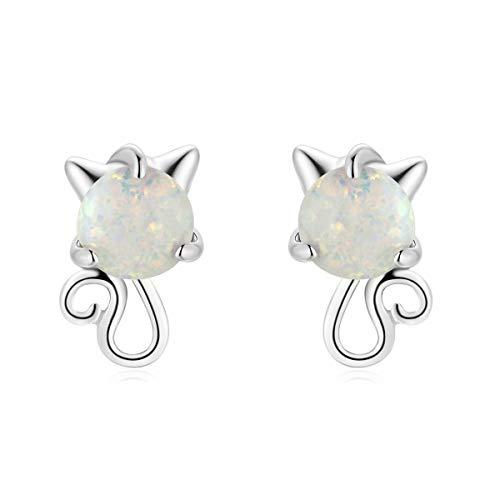 Qings Katze Opal Schön Ohrstecker Ohrringe 925er Sterling Silber Platinbeschichtung Niedlich Tier Ohrringe für Frauen und Mädchen