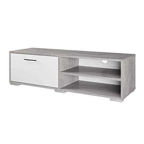 Vicco Lowboard Kamilla Weiß Beton - Fernsehschrank Sideboard Regal Fernsehtisch