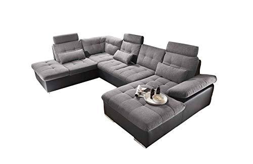 lifestyle4living Wohnlandschaft (XXL) mit Schlaffunktion & Bettkasten, Anthrazit-Grau, Webstoff, Kunstleder | Gemütliches U-Sofa mit Kopfstützen & Armlehnenverstellung