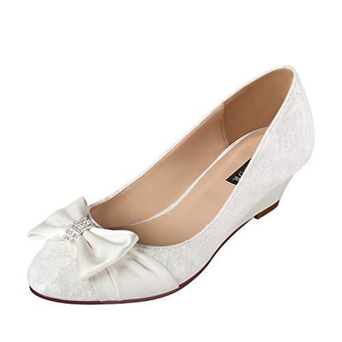 ERIJUNOR Women Comfort Mid Heel Wedges Closed Toe Lace Satin Bow Wedding Shoes Ivory Size 7