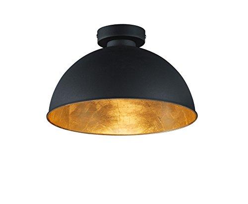 lightling modern Deckenleuchte Kalle, Metall schwarz/Innenseite gold, 1 x E27 max. 60W, ø 31 cm, Höhe 19 cm