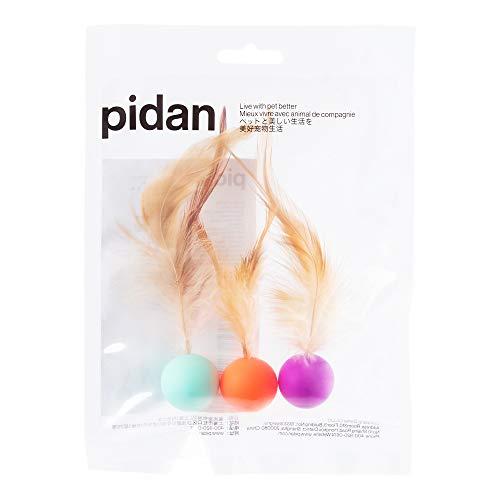 pidan 猫 おもちゃ ボール 猫用おもちゃ 羽毛 弾力ボール 猫遊び用 人気 一人遊び 運動不足解消 (3個入)