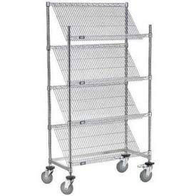 Slant Wire Shelving Truck - 4 Shelves with Brakes - 36