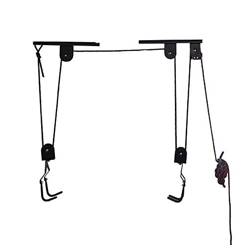 Arltb Bike Lift Hoist Garage Bicycle Ceiling Hoist Ceiling-Mounted Bike Lift Pulley Hanging System 50lbs Capacity Steel Strong Durable Mountain Bikes Road Bikes Dirt Bikes (Black)