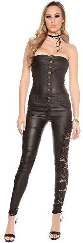 Firstclass Trendstore Bandeau-Overall in Lederoptik Gr. XS - XL, Catsuit Jumpsuit ärmellos Clubwear Leder-Look (900074 schwarz S OV19263)