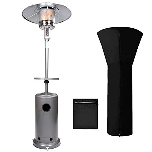 CFYP Calentador Gas Butano - Calentadores de Gas Butano de 88 Pulgadas de Alto con Estante para Bebidas Mesa y Ruedas, Incluida la Cubierta Resistente a la Intemperie