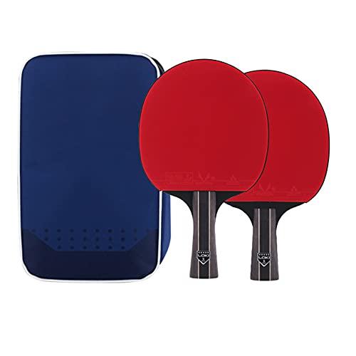 LINGOSHUN Raquetas de Tenis de Mesa de 5 Estrellas,Paleta de Ping Pong Profesional,Juego de Raquetas de Ping Pong para 2 Jugadores/Double/C
