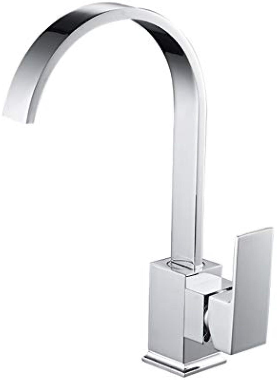 Ayhuir Massivem Messing Küchenarmaturen Swivel Kitchen Sink Wasserhahn Kalt- Und Warmwasser-Einlochmontage-Wasserhahn Silber Chrom Wasserhahn