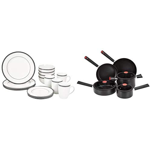 AmazonBasics - Vajilla para 4 personas (16 piezas), diseño de rayas + Juego de utensilios de cocina, sartenes y ollas de inducción
