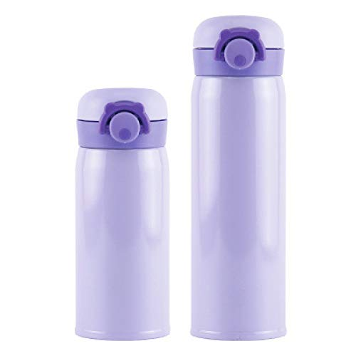 ZYLL 304 Edelstahl Thermoskanne Kaltwasser Isolierflasche Tragbare Vakuumisolierte Gym Klasse Winterwanderung Thermoskanne 350 ml Lila
