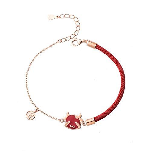 Pulsera De Buey Rojo De La Suerte Cuerda Roja Símbolo De Buena Suerte Joyería Oración Tejido Pulseras De Brazalete