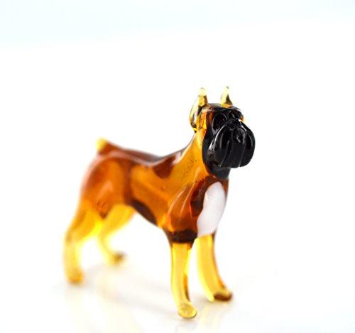 Hund Braun Schwarz - Figur aus Glas Brauner Boxer mit Schwarzer Schnauze stehend -b8-8-14- Glasfigur Glastier Deko Setzkasten Vitrine brauner schwarzer Rassehund