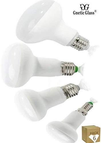 Pack 6 Led Reflector Bombilla 230V R50-E14 R63-E27 R80-E27 R90-E27 6w 8w 10w 12w (8W-3000K 680LM)