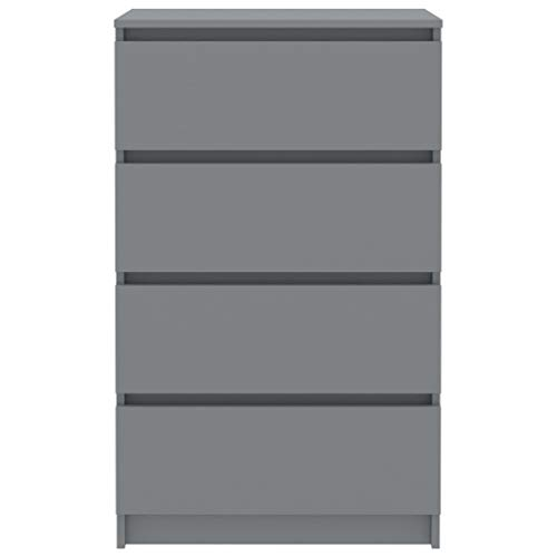 Lasamot Aparador práctico de Interior, Aparador de aglomerado Gris 60 x 35 x 98,5 cm (An x Pr x Al) -con 4 cajones