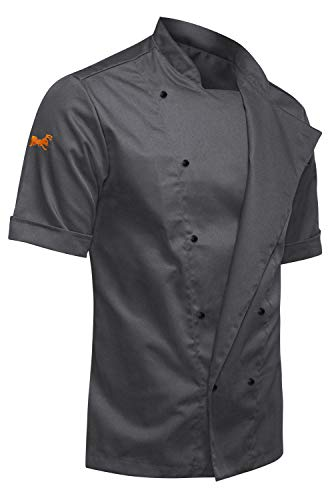strongAnt Giacca da Cuoco Maschile | Uniforme Professionale da Cuoco | 53% Cotone / 47% Poliester | Taglio Moderno Slim Fit, Maniche Corte - Grigio M