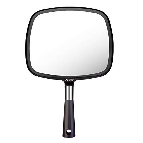 Auxmir Espejo de mano con mango, para peluquería, para peluquería, corte de pelo, afeitado, maquillaje, belleza y cuidado facial, color negro
