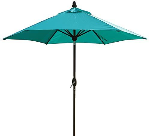 SORARA Sonnenschirm Parasol | Türkis (Blau/Grün) | Ø 230 cm | Rund Lima | Polyester 180 g/m² (UV 50+)| Kurbel & Pendel Mechanismus (excl. Base)