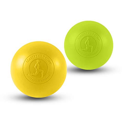 2019最新 マッサージボール 2個組セット ストレッチボール 疲れ解消ボール 筋膜リリース リラックスボール トレーニング 首/肩/背中/腰/ふくらはぎ/足裏 ツボ押しグッズ 水洗える (イエロー+グリーン)