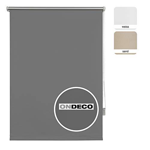 Thermo-Rollo ohne Bohren Verdunkelungsrollo Sichtschutz Seitenzugrollo Fenster innen 60x160 cm Grau