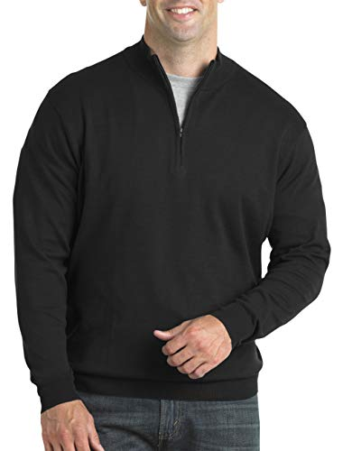 Harbor Bay by DXL Big and Tall Quarter-Zip Mock Sweater, Black, 6XL