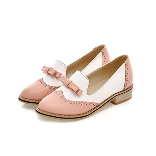 Women's Bowknot Perforated Loafer Shoes Low Heel Slip On Two Tone Brogue Wingtip Oxfords Pink