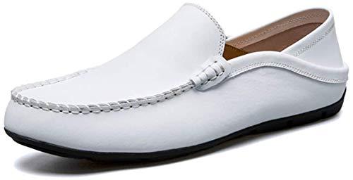 AARDIMI Herren Mokkasins Slip on Casual Männer Loafers Frühling und Herbst Herren Mokassins Schuhe aus echtem Leder Herren Wohnungen Schuhe, 44 EU, Weiß