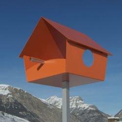 Radius – Vogelhaus, Futterhaus, Vogelfutterhaus – Piep-Show- XXL – Orange - 2
