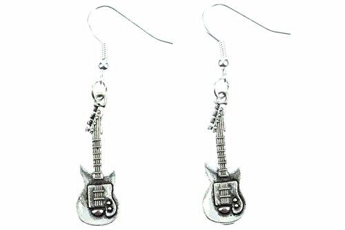 Las guitarras eléctricas suspensión de los pendientes Miniblings pendientes del aro de la guitarra estrella de la música silb
