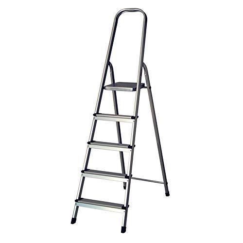 7H SEVEN HOUSE Escalera de Aluminio Plegable con 5 Peldaños Gris   7house   Escalera Doméstica y Profesional   Escalera de Tijeras con Tacos Antideslizantes   Resistente y Larga 177x47x98cm