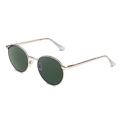 CLANDESTINE Orbita Gold Dark Green - Gafas de Sol de Nylon HD para Hombre & Mujer