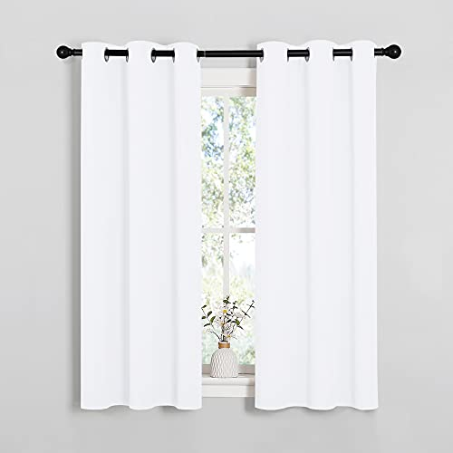 NICETOWN 50% Light Blocking Curtain Panels for Bedroom, Home Decoration Easy-Care Solid Grommet Draperies & Drapes, Window Covering for Kitchen (2 Panels, 34 by 54, White)