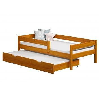 Children's Beds Home - Cama individual con nido - Mateo para niños niño niño niño niño - 160x80, aliso, colchón de espuma de 9 cm
