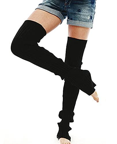Nanxson Damen Stulpen Lange Gestrickt Beinwärmer Winter Beinstulpen Strumpf für Ballett Fitness Yoga (L, schwarz)