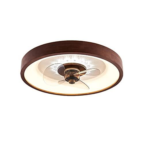 SJNSJN 48W LED Madera Ventilador de Techo con Luz, 3 Aspas, 3 Colores Regulable, Luz Fría Neutra Cálida Regulable, para Dormitorio, Salón Comedor Silencioso Ventilador Regulable Ø50CM